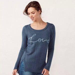 Lauren Conrad Jewel Encrusted Love Sweater